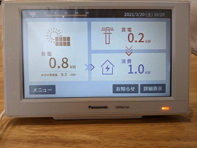 パナソニックの太陽光発電のモニター
